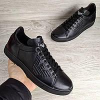Кожаные кеды Armani Jeans Black