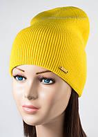Вязаная шапка унисекс Дижон желтая