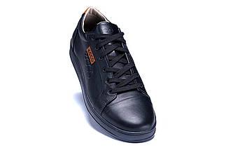 Мужские кожаные кеды Е-series Soft Men Black Leather черные, фото 3