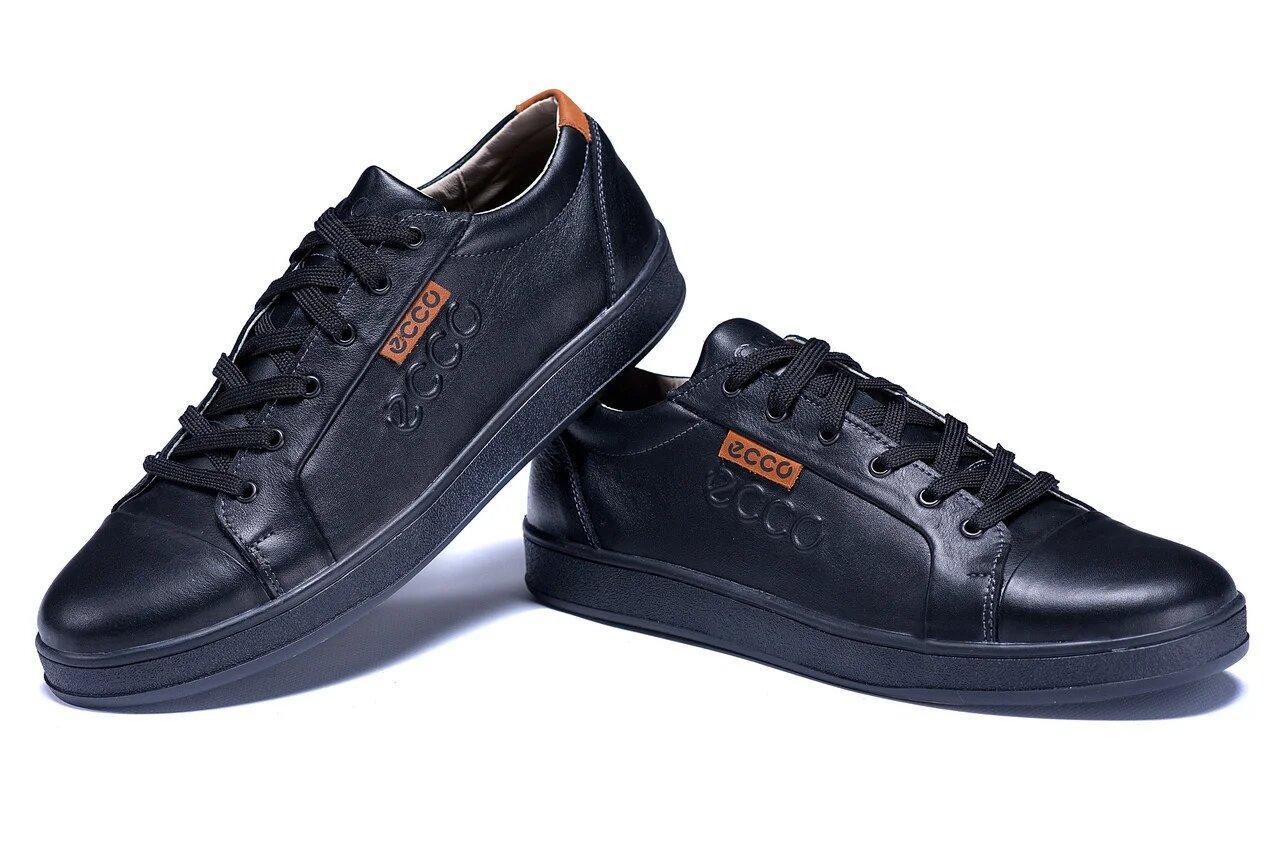 Мужские кожаные кеды Е-series Soft Men Black Leather черные