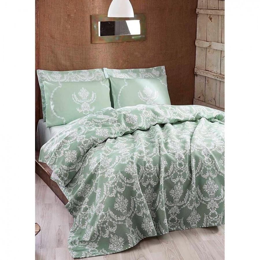 Покрывало пике Eponj Home - Pure suyesil зеленый вафельное 160*235