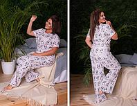 Пижамка двойка из натурального хлопка: штаны и футболка с коротким рукавом (48-58)