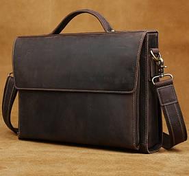 Мужская кожаная сумка портфель Harper Deluxe brown
