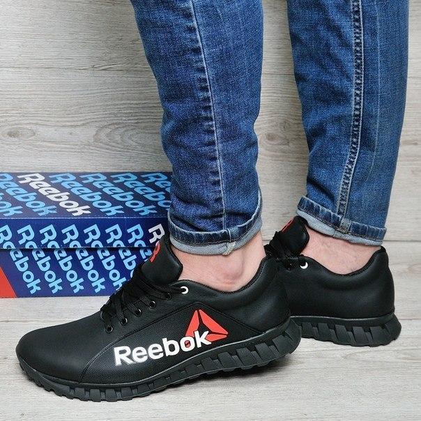 Черные кожаные кроссовки Reebok