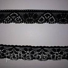 Узкое кружево стрейчевое, ширина 3см, цвет черный