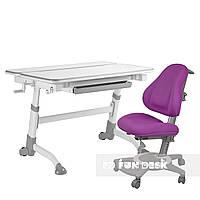 Комплект растущая парта Volare Grey + детское ортопедическое кресло Bravo Purple FunDesk