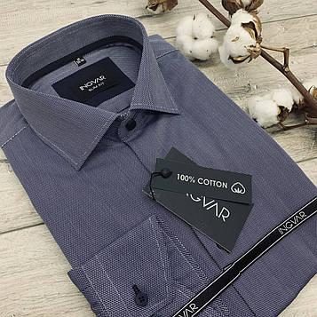 Рубашка мужская 100% хлопковый синий жаккард  ТМ INGVAR