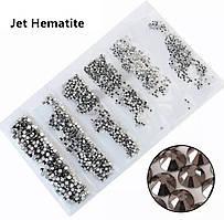 Стразы,фасованные по размерам (от ss3 до ss10), цвет Hematite, 1200 шт