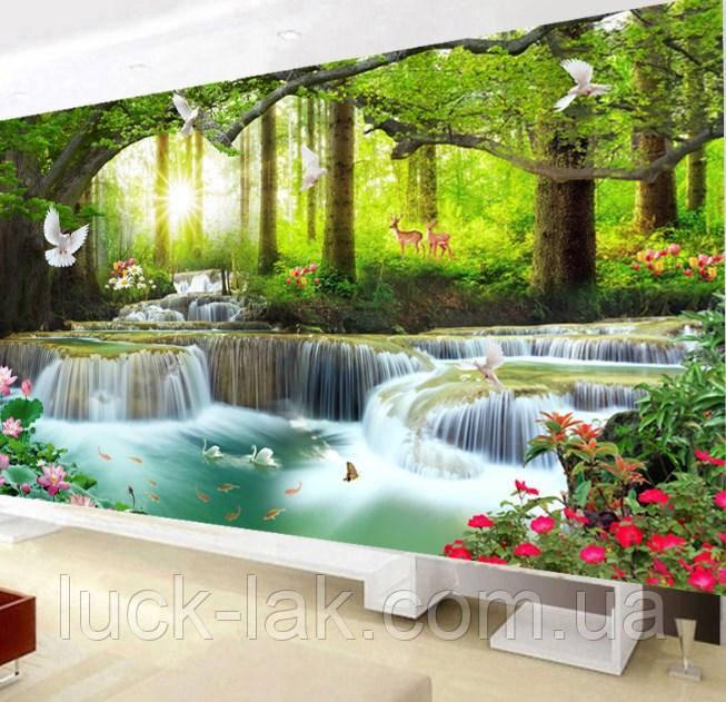 """Алмазная вышивка """"Райский водопад"""", круглые стразы, полная выкладка"""