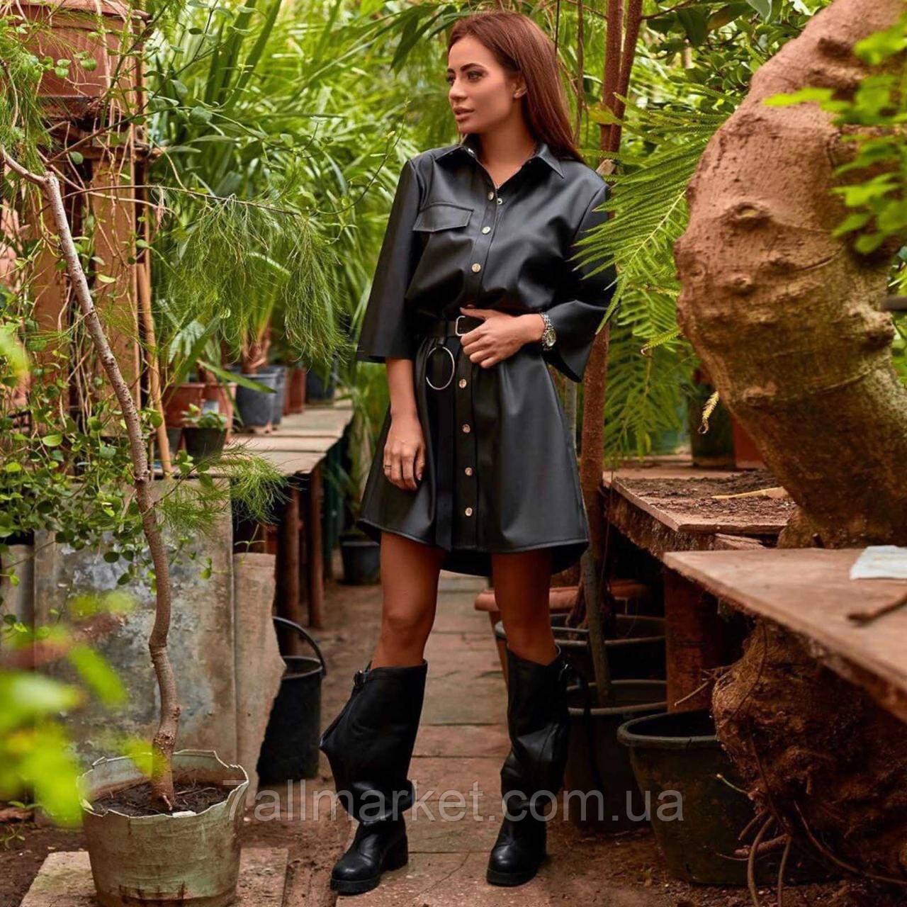 """Сукня жіноча стильну еко-шкіра з поясом, розміри S-M """"MARGARET"""" купити недорого від прямого постачальника"""