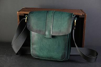 Шкіряна чоловіча сумка Вільям, натуральна шкіра італійський Краст колір Зелений