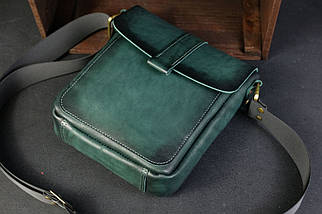 Шкіряна чоловіча сумка Вільям, натуральна шкіра італійський Краст колір Зелений, фото 3