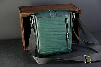 Шкіряна чоловіча сумка Вільям, натуральна шкіра італійський Краст колір Зелений, фото 2