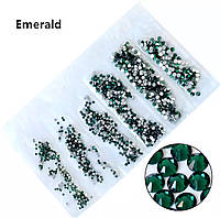 Стразы,фасованные по размерам (от ss3 до ss10), цвет Emerald, 1200 шт