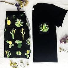 Чоловічий домашній костюм, чоловіча піжама (футболка і шорти) чорна Кактуси, розмір M