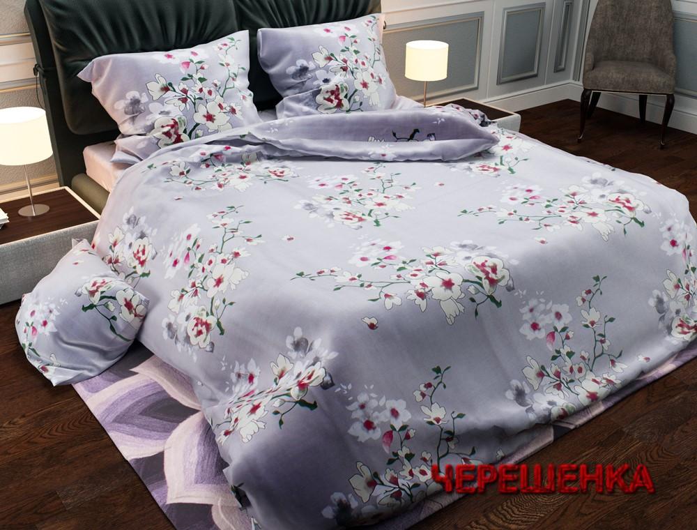"""Ткань для постельного белья Бязь """"Gold"""" Lux GL656 (50м) серая с цветами"""