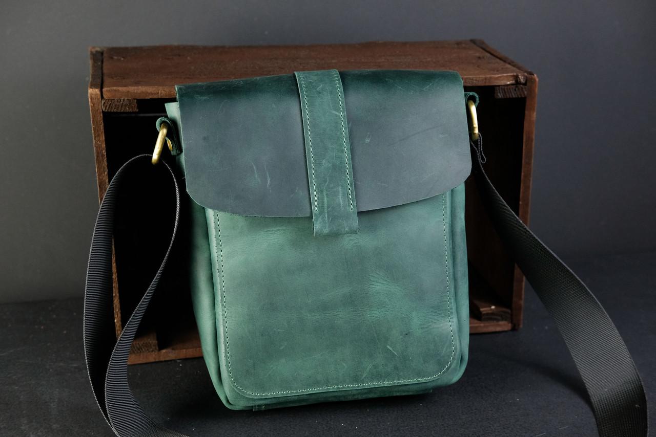 """Мужская сумка """"Модель №44"""" Винтажная кожа цвет Зеленый"""