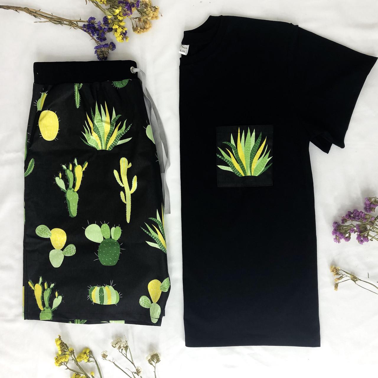 Мужской домашний костюм, мужская пижама (футболка и шорты) черная Кактусы, размер XL