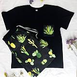 Чоловічий домашній костюм, чоловічий піжама (футболка і шорти) чорна Кактуси, розмір XL, фото 2