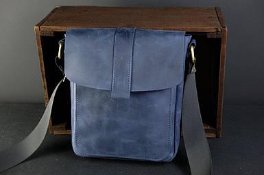 Шкіряна чоловіча сумка Вільям, натуральна Вінтажна шкіра колір Синій