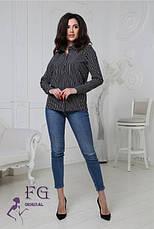 Жіноча легка ділова блузка в смужку з довгим рукавом синя, фото 2