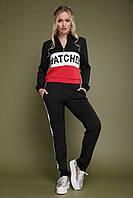 Модный костюм спортивного стиля черного цвета с надписью