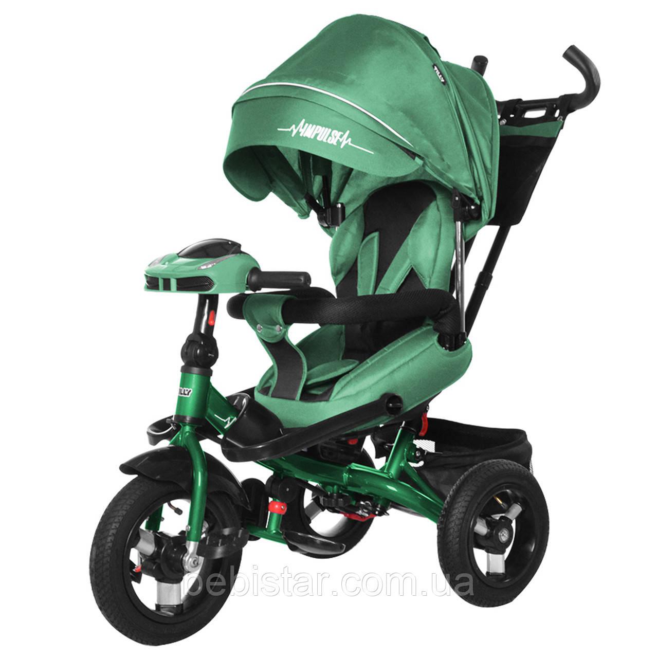 Трехколесный велосипед зеленый TILLY Impulse Т-386 с пультом на надувных колесах музыка и свет