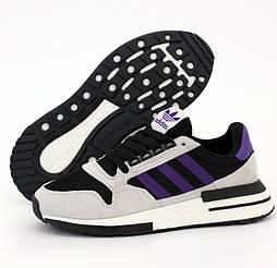 Женские кроссовки Adidas ZX 500 Boost Light Gray Black Purple. Живое фото (Реплика ААА+)