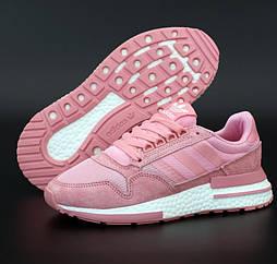 Женские кроссовки Adidas ZX 500 Boost RM Pink White. Живое фото (Реплика ААА+)