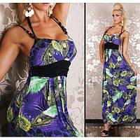РАСПРОДАЖА! Длинное летнее платье павлин
