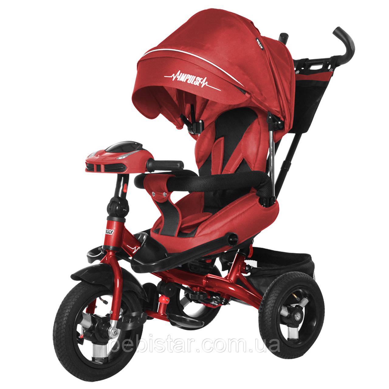 Трехколесный велосипед красный TILLY Impulse Т-386 с пультом на надувных колесах музыка и свет