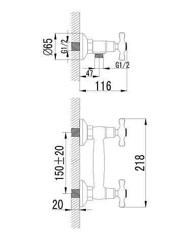 Смеситель для душа Imprese RALSKO NEW двухвентильнный хром 15240NEW, фото 2