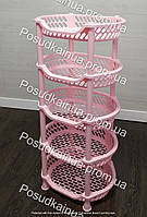 Напольная этажерка из пластика для ванной и кухни EFE Plastics 5 ярусов розовая