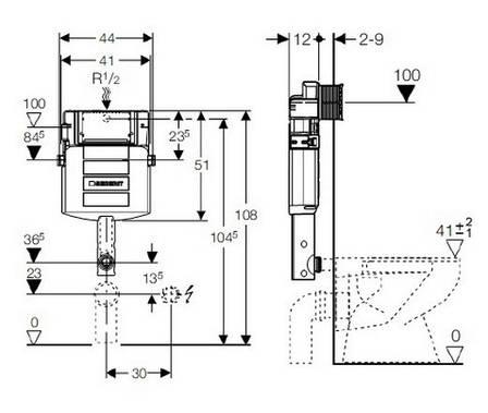 """Смывной бачок GEBERIT скрытого монтажа, с фронтальным управлением, глубина 12 см, для смывных клавиш """"Sigma"""", фото 2"""