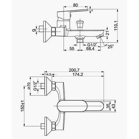 Смеситель для ванны Imprese LASKA белый 35 мм, фото 2
