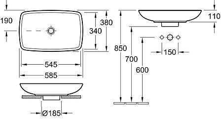 LOOP & FRIENDS умывальник для установки на столешницу 58,5*38см, белый альпин, фото 2