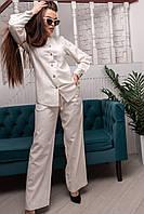 Широкие льняные брюки с завышенной талией Leonila (42–52р) в расцветках