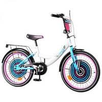 """Детский двухколесный велосипед TILLY Cyber 20"""" white + blue."""