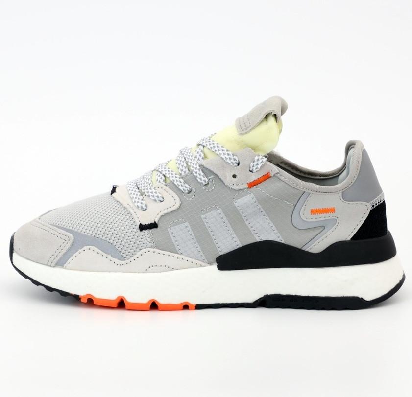 Мужские кроссовки Adidas Nite Jogger gray black Reflective. Живое фото (Реплика ААА+)