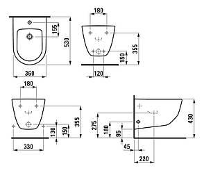 Биде Laufen  PRO   подвесное  с боковыми отверстиями для подвода воды 36*53см,, фото 2