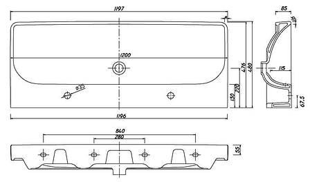 Умывальник Kolo TRAFFIC мебельный с двумя отверстиями,с переливом 120*48 см , фото 2