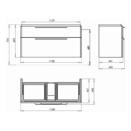 TRAFFIC шкафчик под умывальник 116,8*62,5*46,1 см,белый глянец(пол.), фото 2