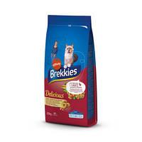 Сухой корм для кошек Brekkies Cat Delice Meat 20 кг. с мясом, хрустящие мясные кусочки для котов