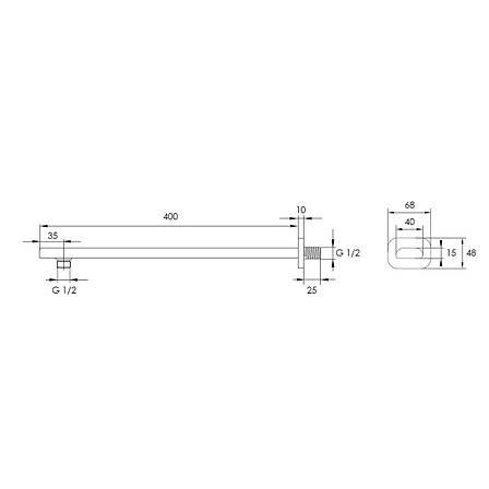 Держатель Imprese душевой лейки 400 мм , латунь SH01-400B, фото 2