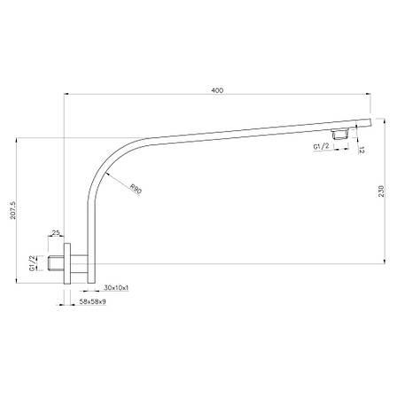 Держатель душевой лейки Imprese 30х10х400 мм , латунь SH01-3010400B, фото 2