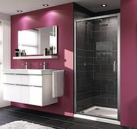X1 дверь распашная для ниши и боковой стенки  90*190см (проф гл хром, стекло прозр)
