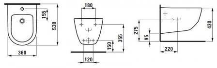 Биде Laufen PRO   360*530мм, подвесное, с 1-м отв. под смеситель, без боковых отв. для подвода воды, с покрытием LCC 360*530мм,, фото 2