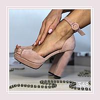 Женские босоножки на высоком каблуке и платформе пудра замша, закрытая пятка, фото 1