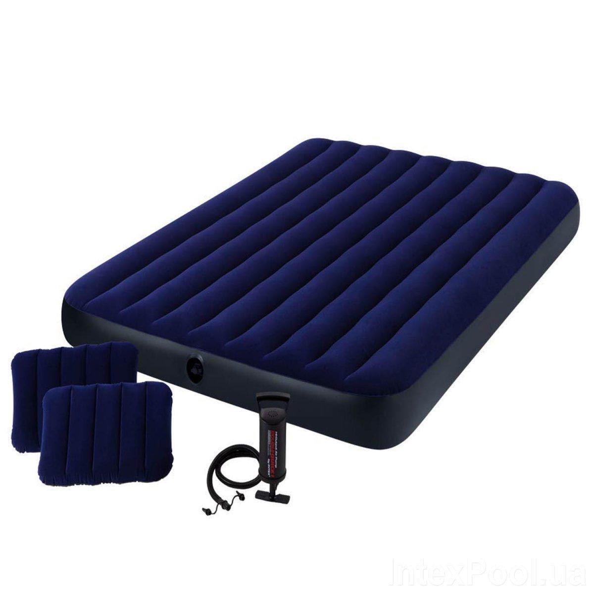 Надувной матрас Intex 64765 152 х 203 х 25 см Двухместный с двумя подушками и насосом (8740)