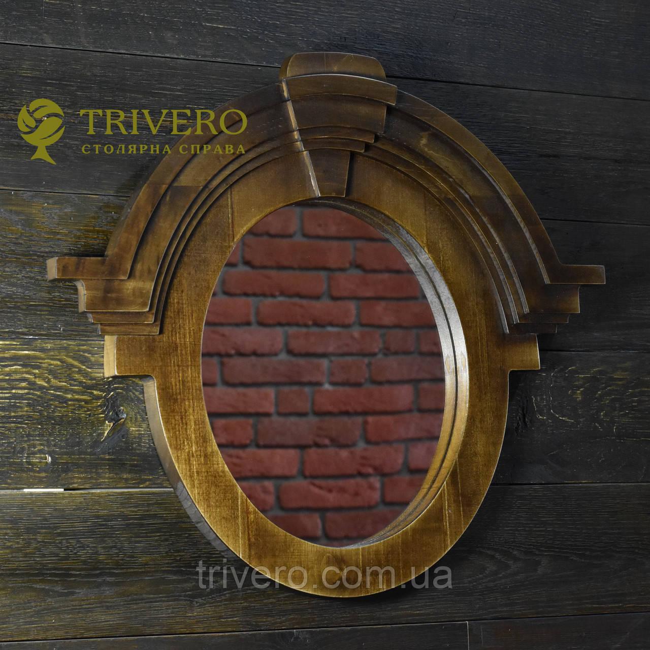 Зеркало в деревянной раме в лофт стиле клен
